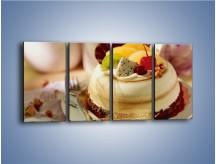 Obraz na płótnie – Bezowy torcik owocowy – czteroczęściowy JN256W1
