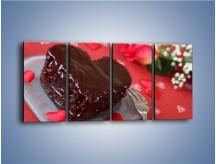 Obraz na płótnie – Czekoladowa uczta zakochanych – czteroczęściowy JN257W1