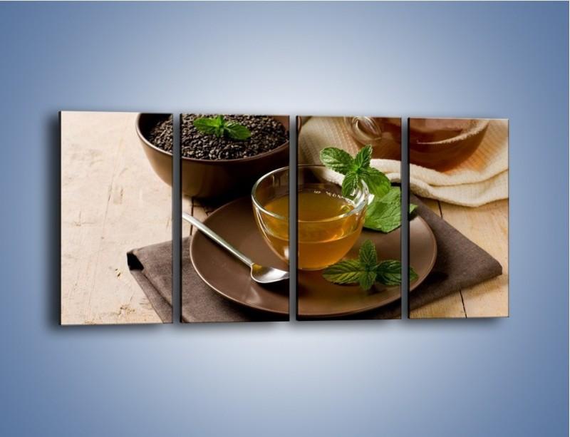 Obraz na płótnie – Filiżanka herbaty na poprawę humoru – czteroczęściowy JN264W1