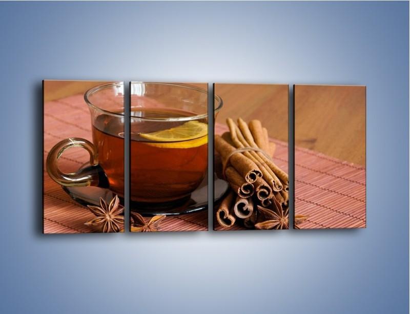 Obraz na płótnie – Rozgrzewająca filiżanka herbaty – czteroczęściowy JN266W1