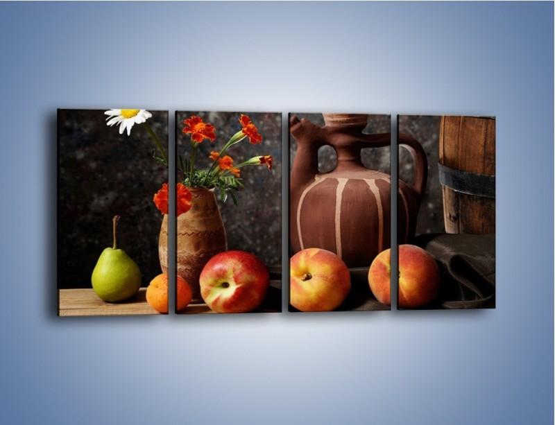 Obraz na płótnie – Kwiaty wśród owoców – czteroczęściowy JN280W1