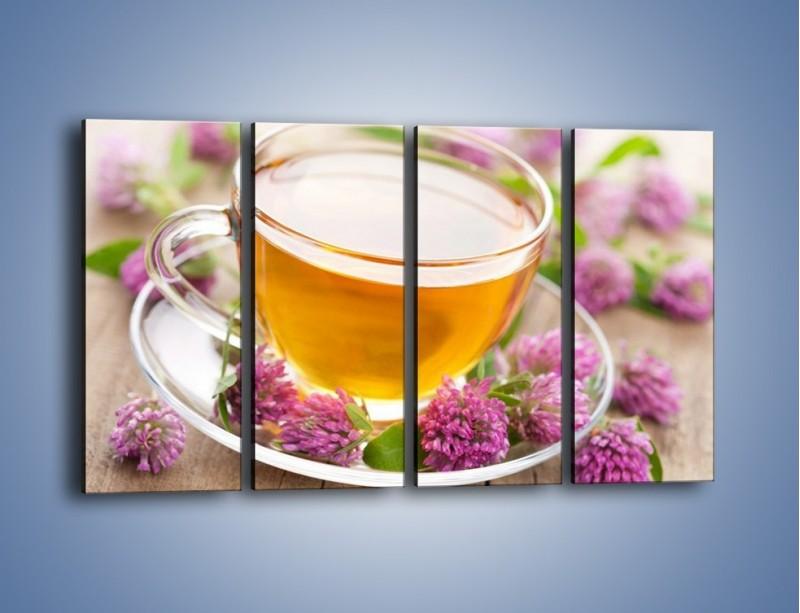 Obraz na płótnie – Herbata z kwiatami – czteroczęściowy JN283W1