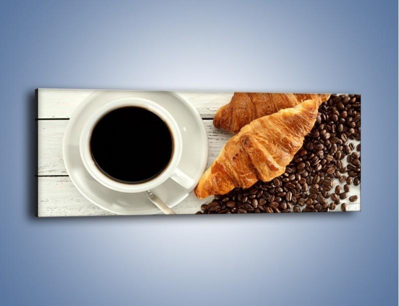 Obraz na płótnie – Kawa na białym stole – jednoczęściowy panoramiczny JN462