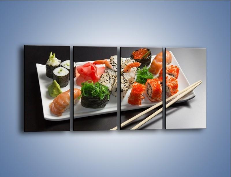 Obraz na płótnie – Kuchnia azjatycka na półmisku – czteroczęściowy JN295W1