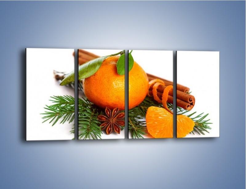 Obraz na płótnie – Pomarańcza na święta – czteroczęściowy JN306W1
