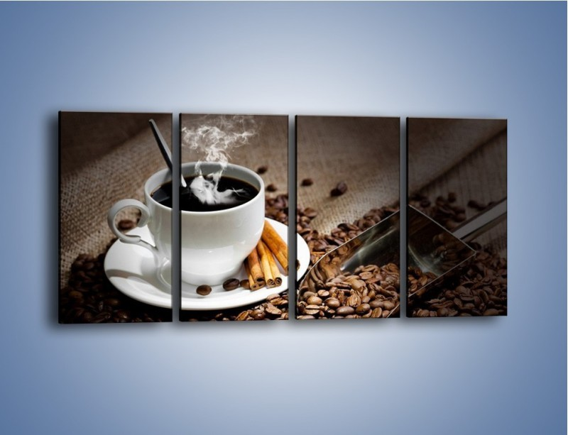 Obraz na płótnie – Czarna palona kawa – czteroczęściowy JN311W1