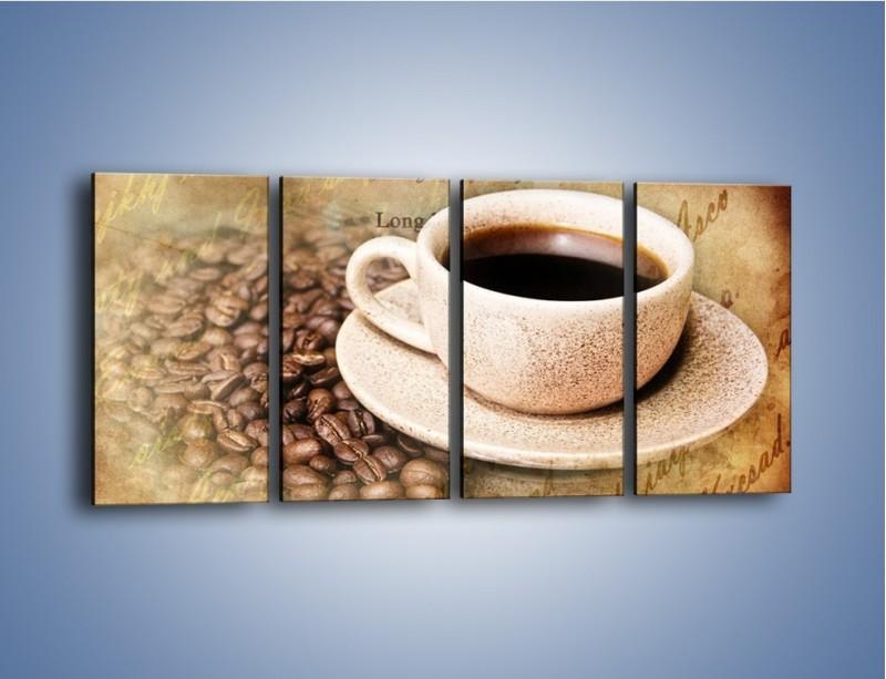 Obraz na płótnie – List przy filiżance kawy – czteroczęściowy JN347W1