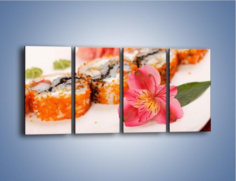 Obraz na płótnie – Sushi z kwiatem – czteroczęściowy JN354W1