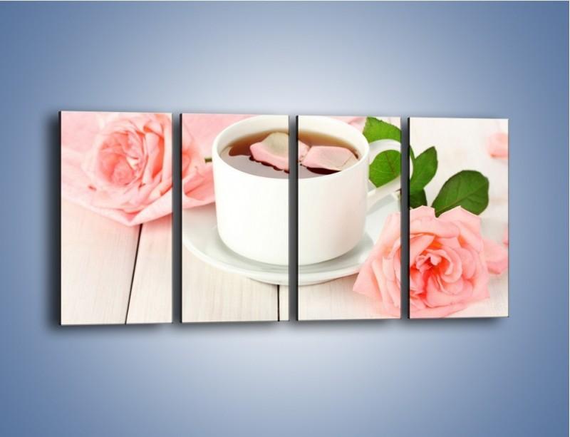 Obraz na płótnie – Herbata wśród róż – czteroczęściowy JN369W1