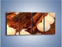 Obraz na płótnie – Cynamonowe szaleństwa przy świecach – czteroczęściowy JN371W1