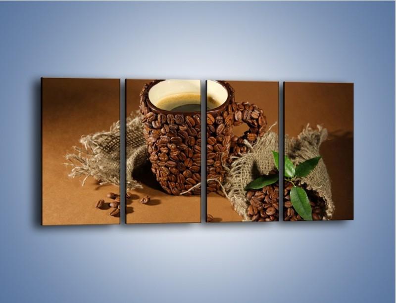 Obraz na płótnie – Kubek z ziarnami kawy – czteroczęściowy JN388W1