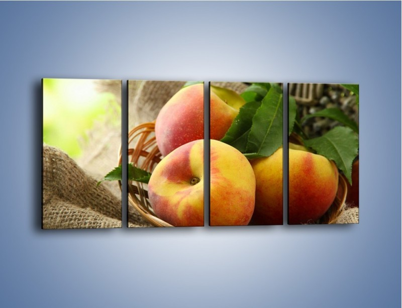 Obraz na płótnie – Dojrzałe jabłka w koszu – czteroczęściowy JN390W1