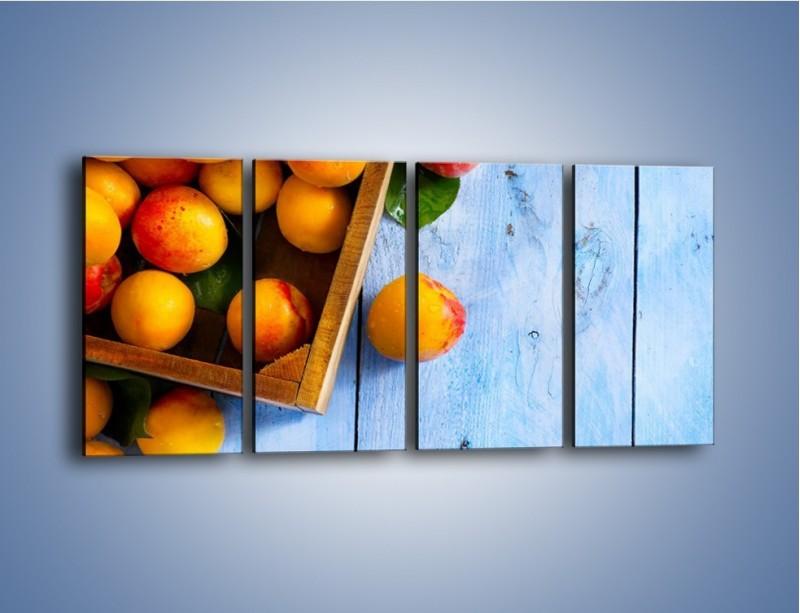 Obraz na płótnie – Brzoskwinie w drewnianej skrzyni – czteroczęściowy JN404W1