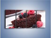 Obraz na płótnie – Czekoladowe brownie z owocami – czteroczęściowy JN408W1