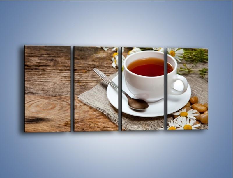 Obraz na płótnie – Herbata wśród stokrotek – czteroczęściowy JN413W1