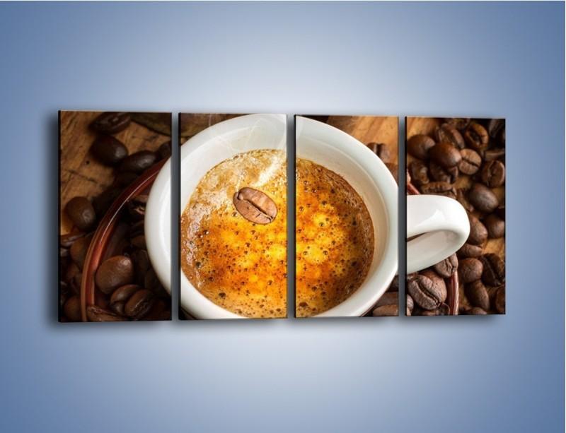 Obraz na płótnie – Ziarna zatopione w kawie – czteroczęściowy JN416W1