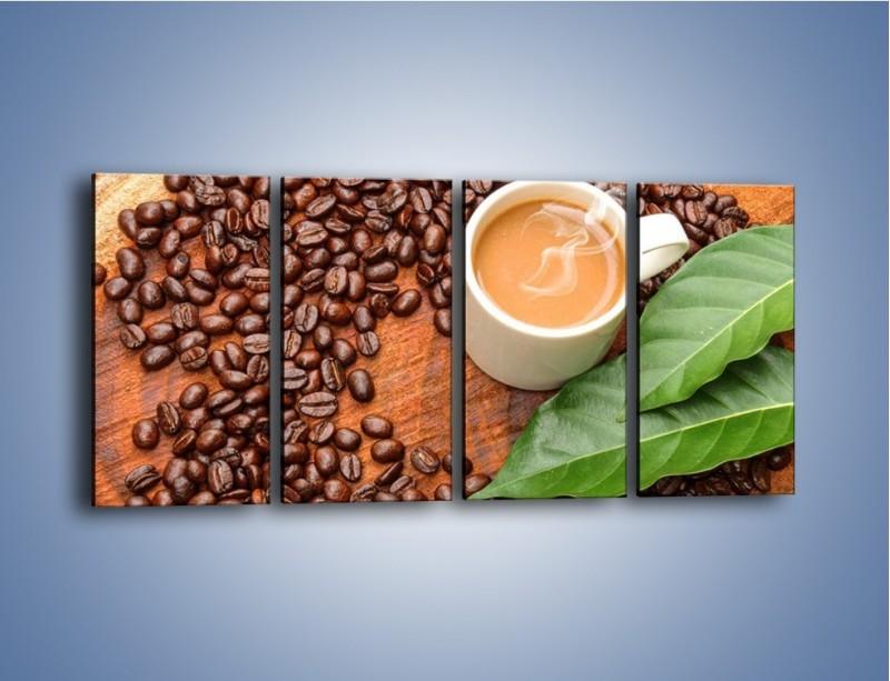 Obraz na płótnie – Ziarna kawy pod liściem – czteroczęściowy JN417W1