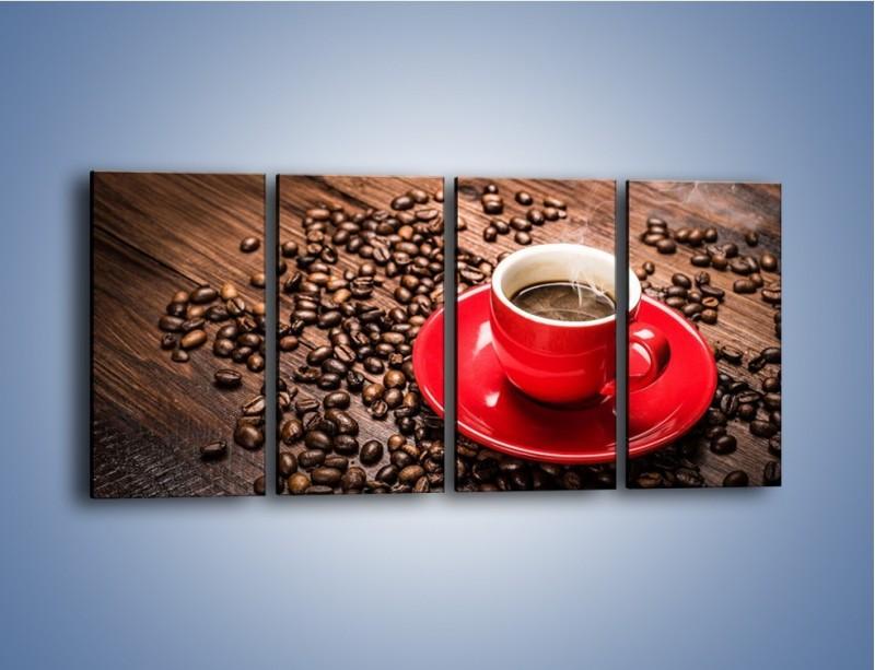 Obraz na płótnie – Kawa w czerwonej filiżance – czteroczęściowy JN441W1