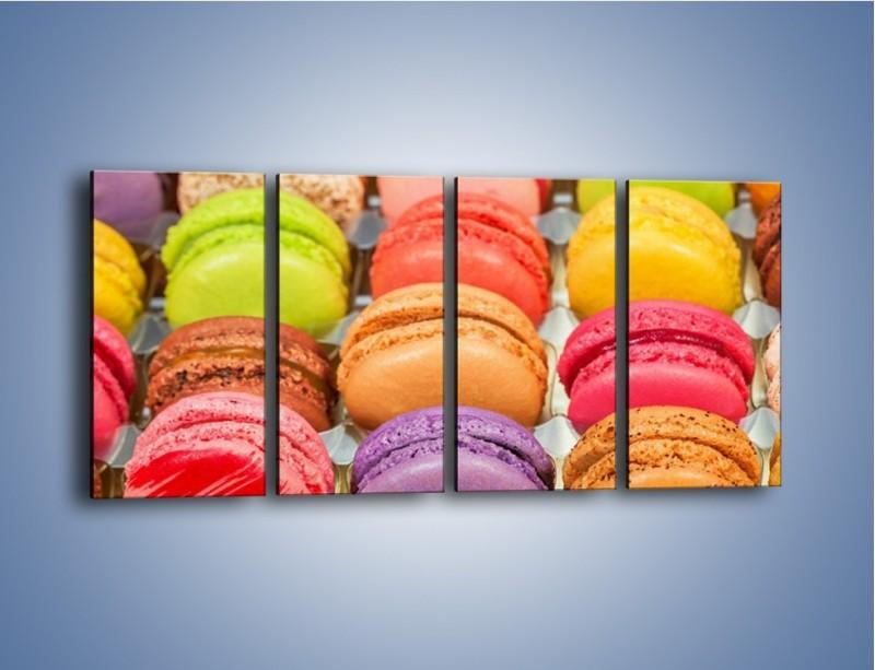 Obraz na płótnie – Słodkie babeczki w kolorach tęczy – czteroczęściowy JN458W1