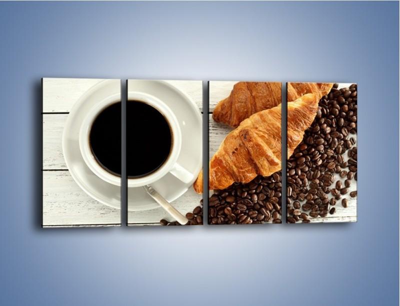 Obraz na płótnie – Kawa na białym stole – czteroczęściowy JN462W1