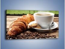 Obraz na płótnie – Deszczowy dzień z gorącą kawą – jednoczęściowy panoramiczny JN474