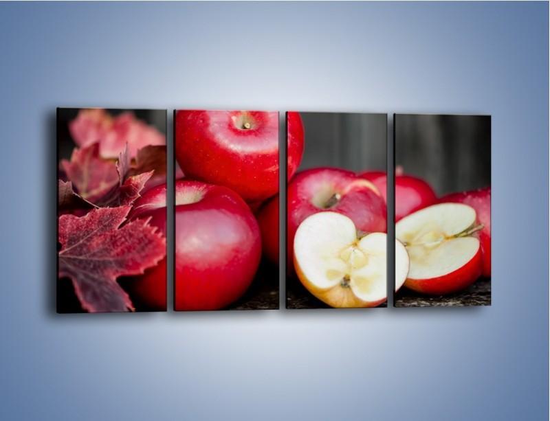 Obraz na płótnie – Czerwone jabłka późną jesienią – czteroczęściowy JN619W1