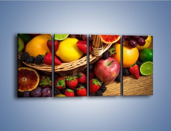 Obraz na płótnie – Kosz zatopiony w owocach – czteroczęściowy JN635W1