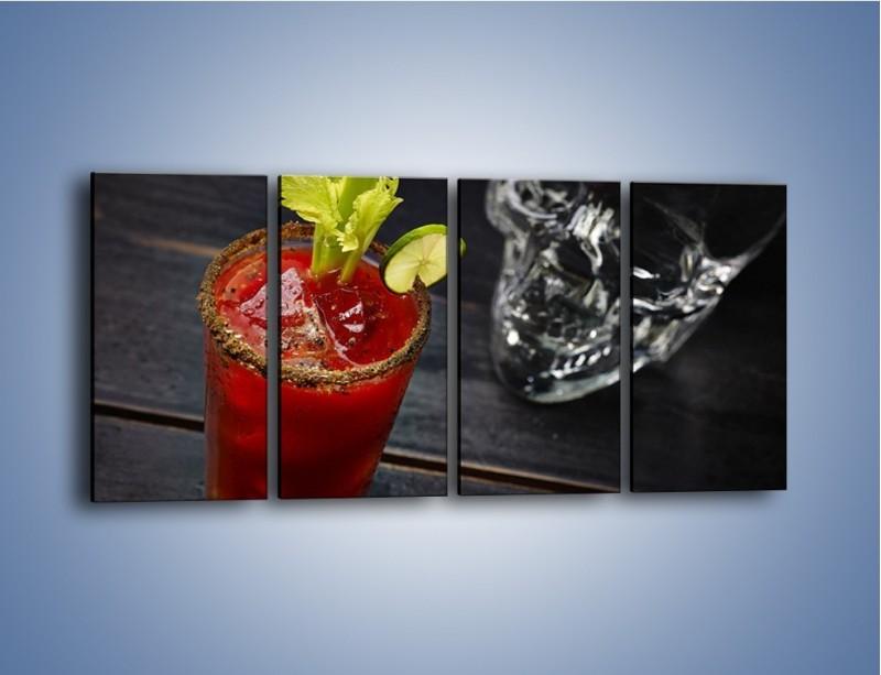 Obraz na płótnie – Czerwony drink z selerem – czteroczęściowy JN751W1
