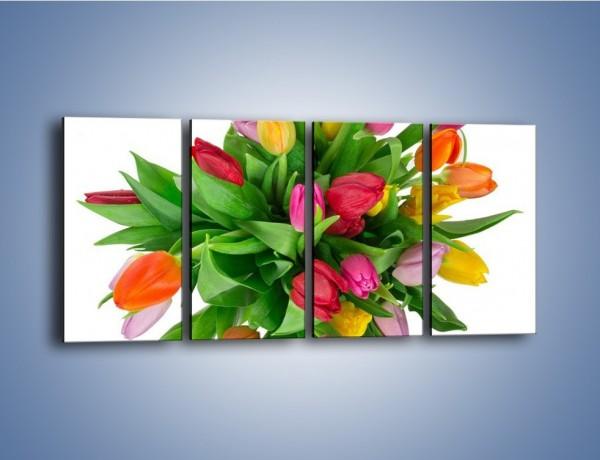 Obraz na płótnie – Wiązanka kolorowych tulipanów – czteroczęściowy K019W1