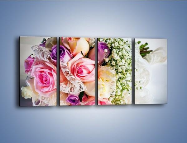 Obraz na płótnie – Wiązanka ślubna z róż – czteroczęściowy K022W1