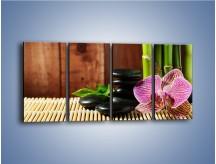 Obraz na płótnie – Bambus storczyk i kamienie – czteroczęściowy K279W1