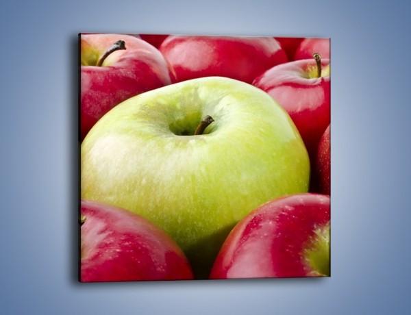 Obraz na płótnie – Zielone wśród czerwonych jabłek – jednoczęściowy kwadratowy JN155