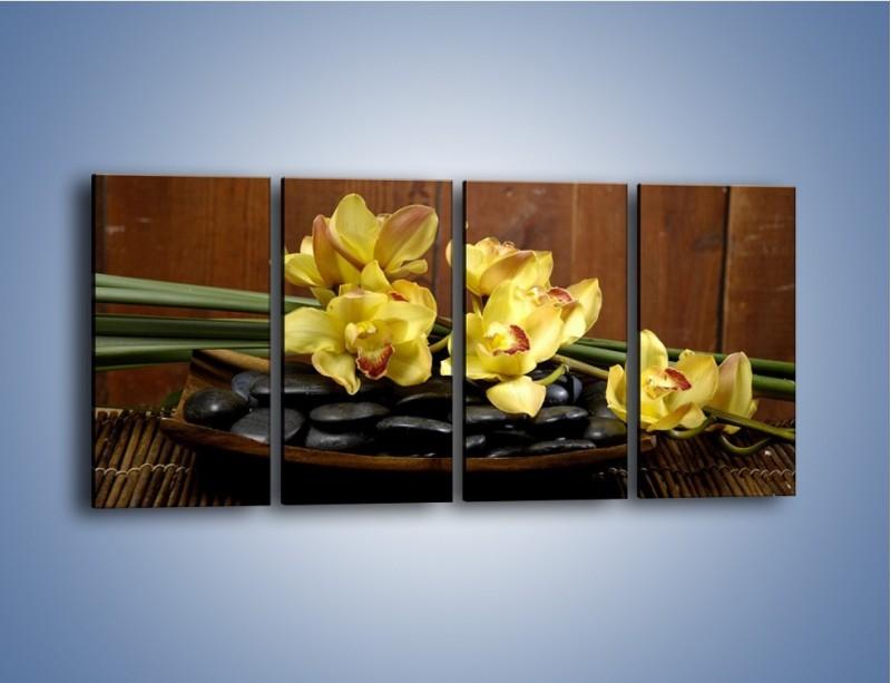Obraz na płótnie – Kwiaty na drewnianym naczyniu – czteroczęściowy K575W1