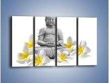 Obraz na płótnie – Budda w białych kwiatach – czteroczęściowy K599W1