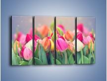 Obraz na płótnie – Tulipany i baśniowy widok – czteroczęściowy K793W1