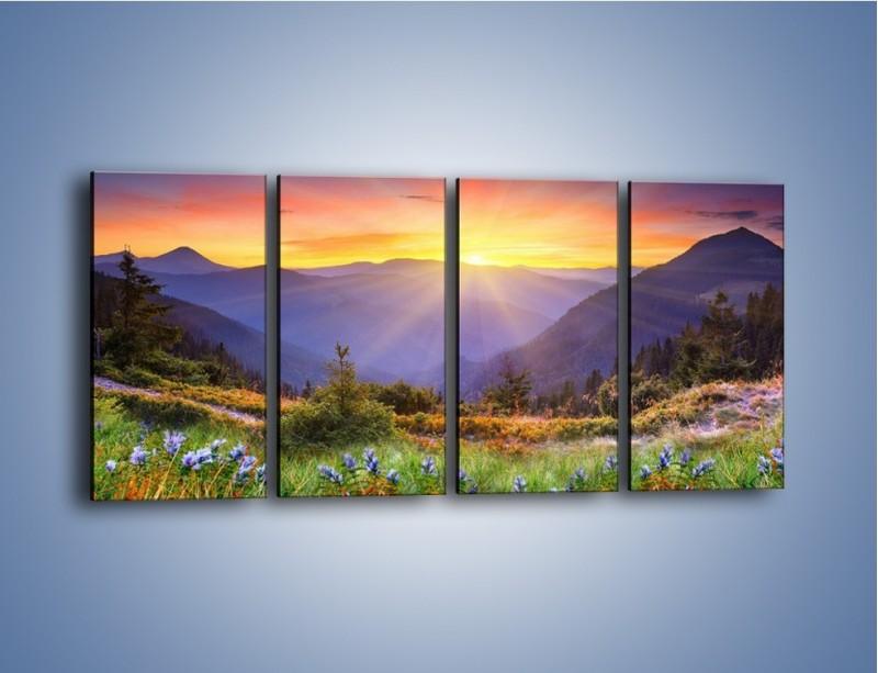 Obraz na płótnie – Góry o zachodzie słońca – czteroczęściowy KN014W1