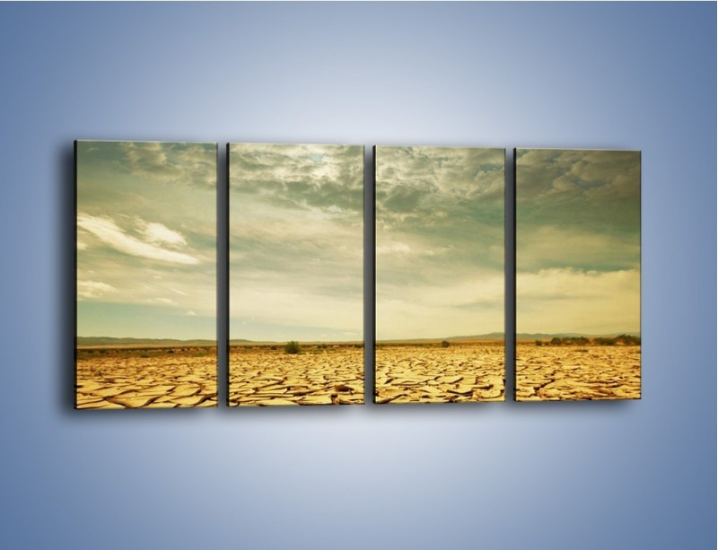 Obraz na płótnie – Ciemne chmury nad popękaną ziemią – czteroczęściowy KN025W1