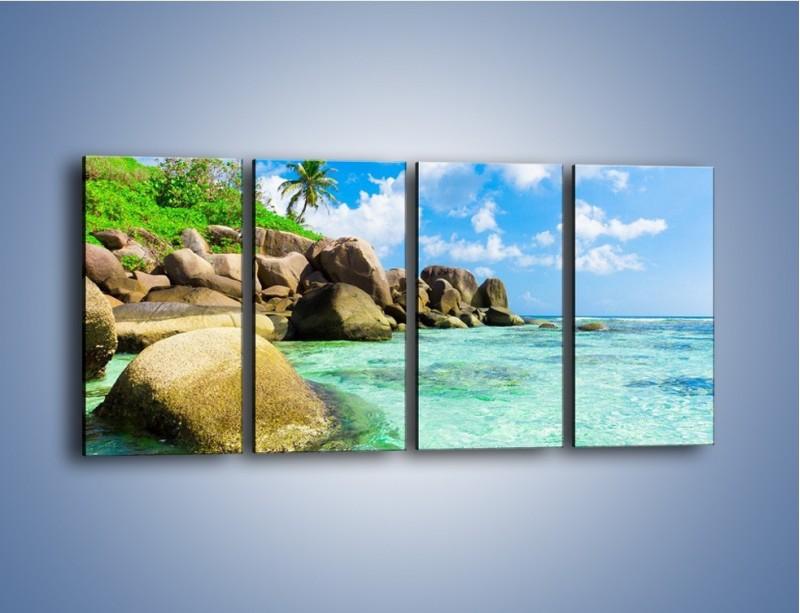 Obraz na płótnie – Lazurowa woda w tropikach – czteroczęściowy KN035W1