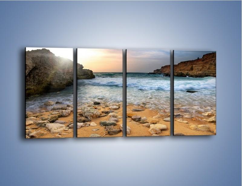 Obraz na płótnie – Kamienista plaża o poranku – czteroczęściowy KN043W1