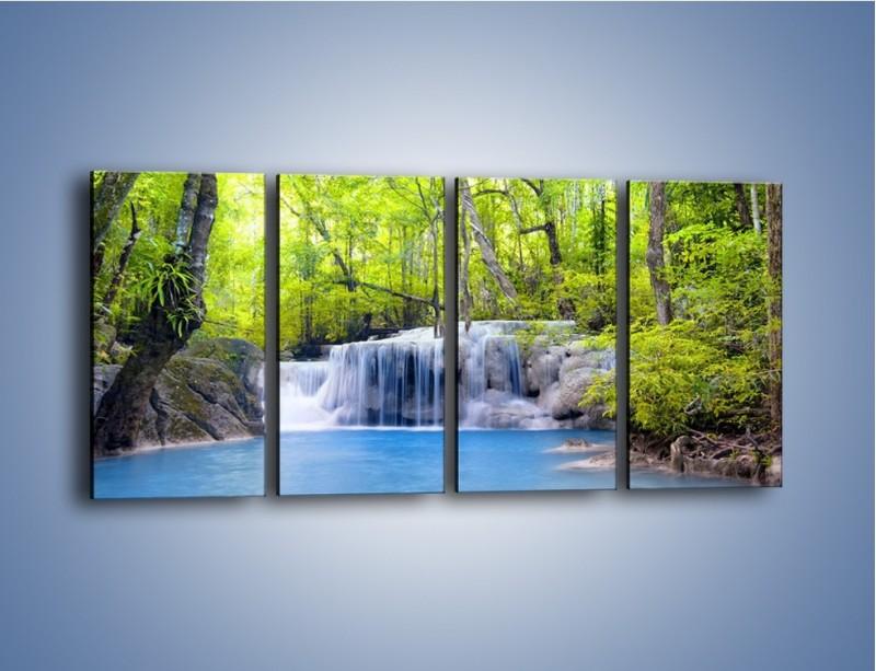 Obraz na płótnie – Mały leśny wodospad – czteroczęściowy KN057W1
