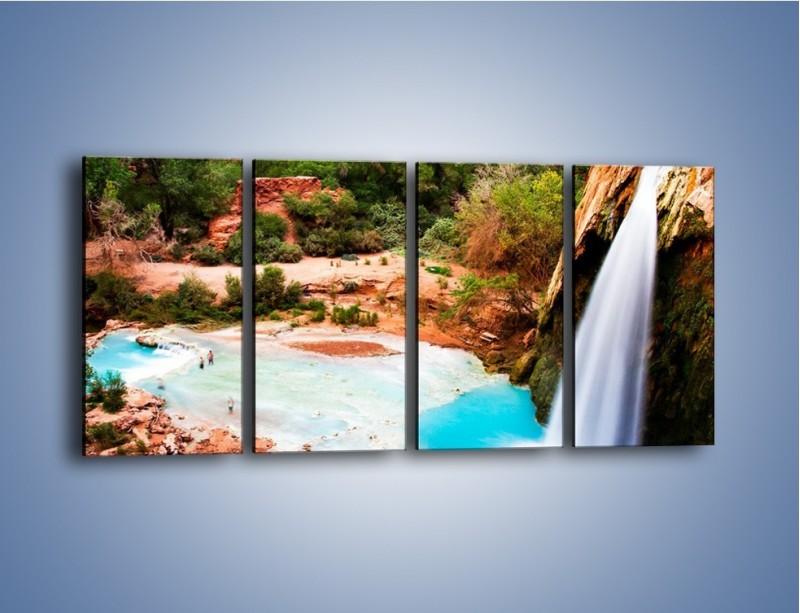 Obraz na płótnie – Zabawy przy wodospadzie – czteroczęściowy KN095W1