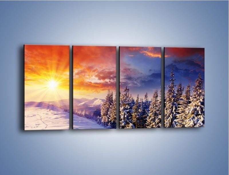 Obraz na płótnie – Urok zimowej pary – czteroczęściowy KN098W1