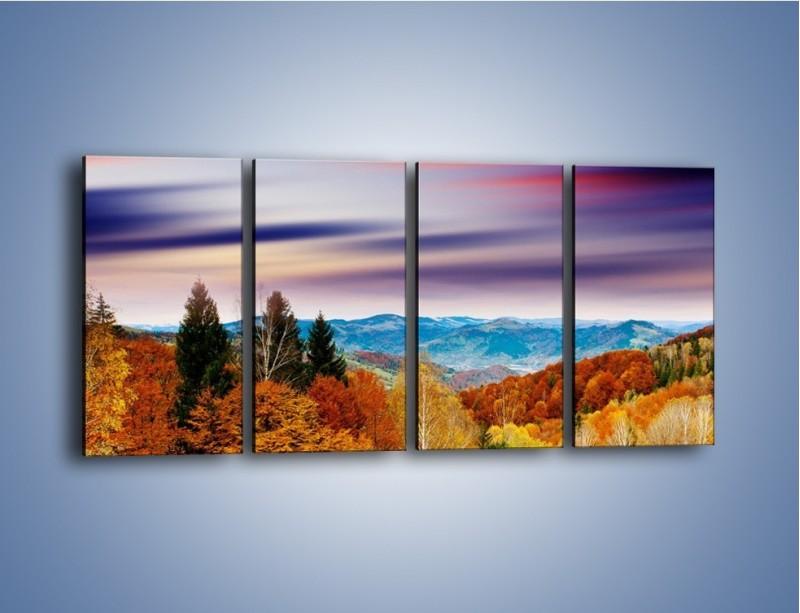 Obraz na płótnie – Drzewa w kolorach jesieni – czteroczęściowy KN099W1