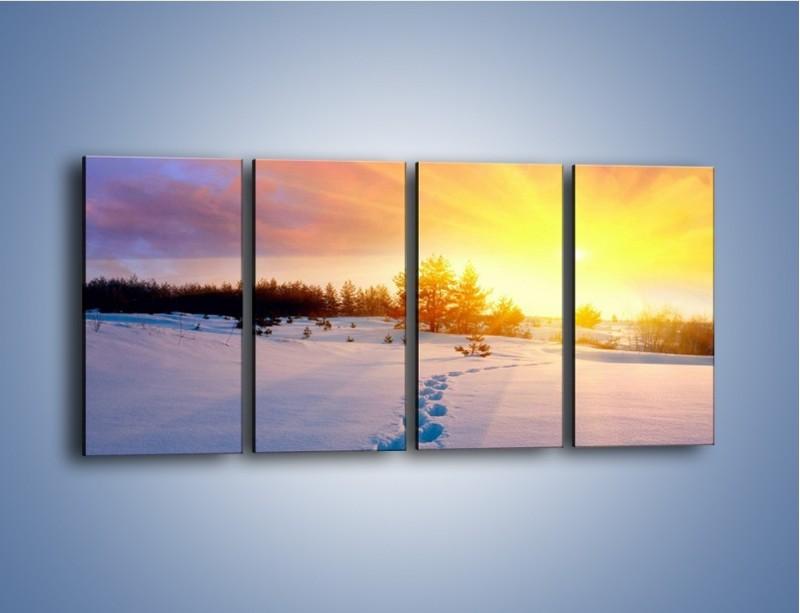 Obraz na płótnie – Ślady na śnieżnym puchu – czteroczęściowy KN1015W1
