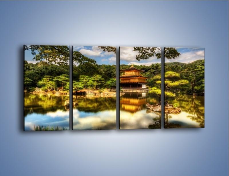 Obraz na płótnie – Widok z domu na wodę – czteroczęściowy KN1030W1