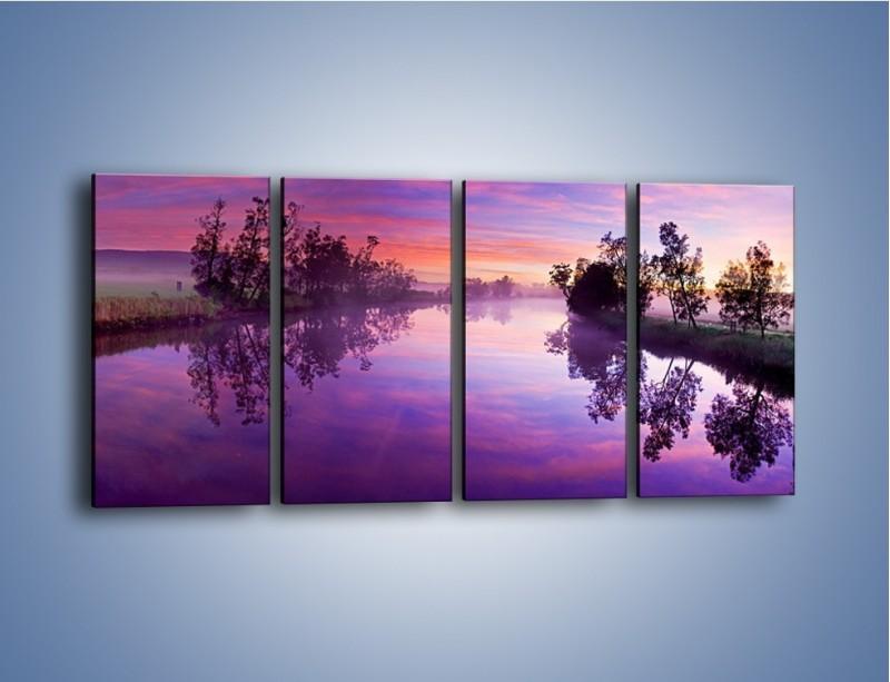 Obraz na płótnie – Fiolet w wodzie i na niebie – czteroczęściowy KN1046W1