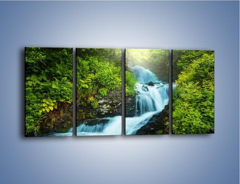 Obraz na płótnie – Spływ wodny i zieleń – czteroczęściowy KN1069W1