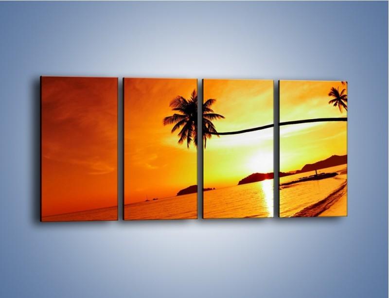 Obraz na płótnie – Palma o zachodzie słońca – czteroczęściowy KN1077W1