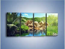 Obraz na płótnie – Bogata roślinność nad wodą – czteroczęściowy KN1082AW1