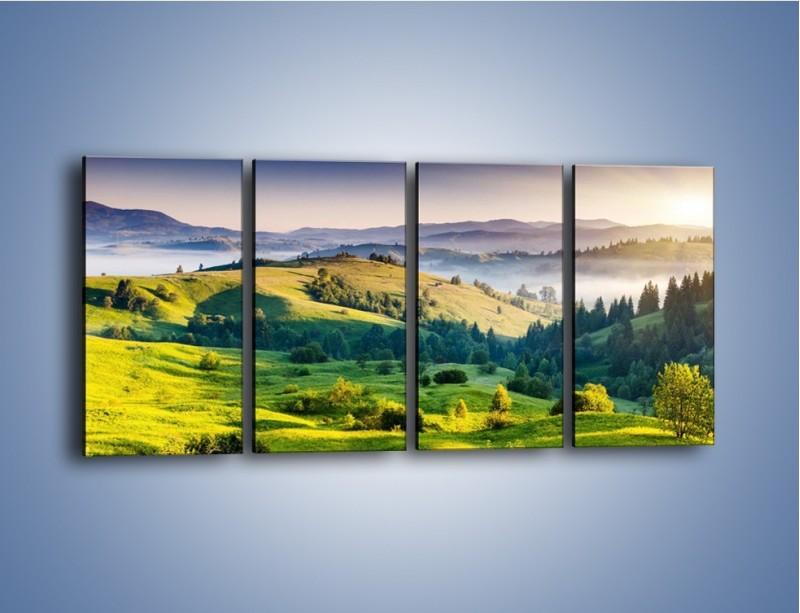 Obraz na płótnie – Tylko zieleń i góry – czteroczęściowy KN1084W1